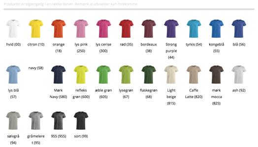 Farveudvalg på Basic T